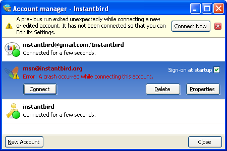 Account manager where an account was disabled because of a crash during the last connection attempt.