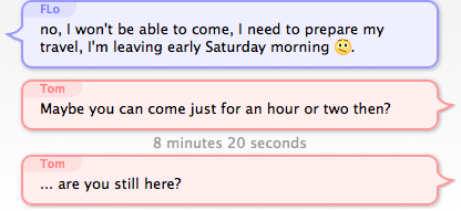 screenshot of 2 messages with over 5 minutes of interval