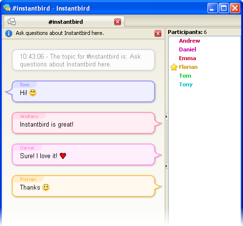 chat room with people talking in colorful chat bubbles