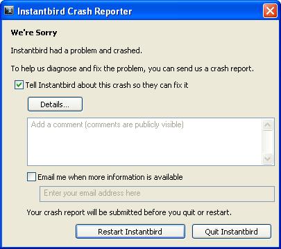 Instantbird Crash Reporter dialog