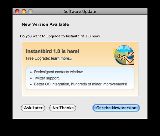 Dialog offering a major update to Instantbird 1.0