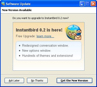 Major update offer dialog