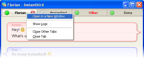 Tab context menu