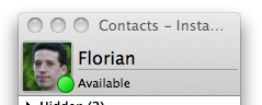 screenshot of the contact list with an icon and a display name