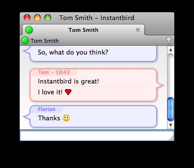 conversation with a smaller info bar